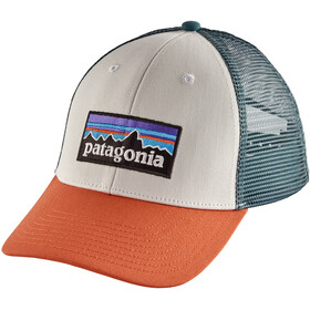 Patagonia P-6 Logo LoPro Trucker Hat White with Sunset Orange